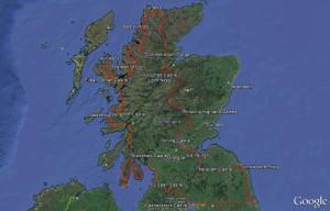 Reiseroute Schottland